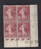 Semeuse 15 C.brun 189 En Bloc De 4 Coin Daté - 1906-38 Semeuse Camée