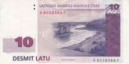 BILLETE DE LETONIA DE 10 LATI DEL AÑO 2000 (BANK NOTE) - Letonia