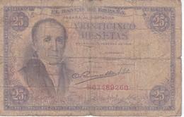 BILLETE DE ESPAÑA DE 25 PTAS DEL 19/02/1946 SERIE F  CALIDAD RC (BANKNOTE) - [ 3] 1936-1975: Franco