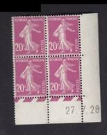 Semeuse 20 C. Lilas Rose 190 En Bloc De 4 Coin Daté - 1906-38 Säerin, Untergrund Glatt