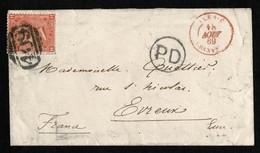 GREAT BRITAIN JERSEY 4d 1869 GRANVILLE EVREUX FRANCE - Jersey