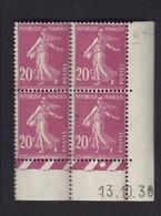 Semeuse 20 C. Lilas Rose 190 En Bloc De 4 Coin Daté - 1906-38 Semeuse Camée