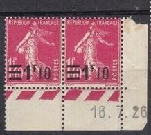 Semeuse 1.10 / 1 F. 40 Rose 228 En Paire Coin Daté - 1906-38 Säerin, Untergrund Glatt