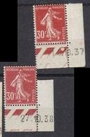 Semeuse 30 C. Rouge 360 X2 Coin Daté - 1903-60 Säerin, Untergrund Schraffiert