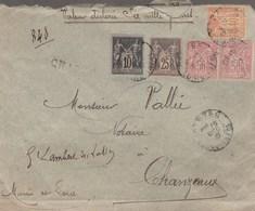 SAGE 50 X 2 +40 +25 +10 C SUR LETTRE VD 6000F NANTES 15/12/96 POUR CHANZEAUX MAINE ET LOIRE - Marcophilie (Lettres)