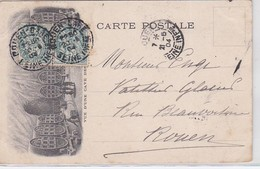 CP  - N°111 X2  ROUEN / 21.5.04 - Marcophilie (Lettres)