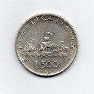 """ITALIA - 1961 - 500 Lire """"Caravelle"""" - Argento 835 - Peso 11 Grammi - (MW2195) - 1946-… : Repubblica"""