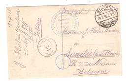2938/ CP Eglise De Fortune Camp De Soltau PDG-POW C.Soltau 1916 Censure Du Camps V.Belgique Suarlée C.d'arrivée Rhines - Weltkrieg 1914-18