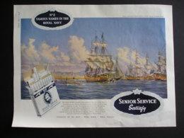 ORIGINAL 1958 MAGAZINE ADVERT FOR  SENIOR SERVICE CIGARETTES. HMS SUPERB - Advertising