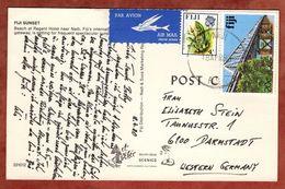 AK Strand, Luftpost, Orchidee + Rewa-Bruecke, Nadi Nach Darmstadt 1980 (72202) - Fiji (1970-...)