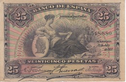 BILLETE DE ESPAÑA CLASICO DE 25 PTAS DEL AÑO 1907 SIN SERIE  (BANKNOTE) - [ 1] …-1931 : Primeros Billetes (Banco De España)