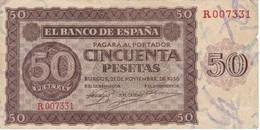 BILLETE DE BURGOS DE 50 PTAS DEL 21/11/1936 SERIE R  (BANKNOTE) - [ 3] 1936-1975: Regime Van Franco