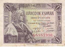 BILLETE DE ESPAÑA DE 1 PTA DEL 15/06/1945 ISABEL LA CATÓLICA SERIE G (BANK NOTE) - [ 3] 1936-1975 : Régence De Franco