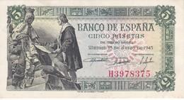 BILLETE DE ESPAÑA DE 5 PTAS DEL 15/06/1945 SERIE H CALIDAD EBC (XF) (BANKNOTE) - [ 3] 1936-1975 : Régimen De Franco