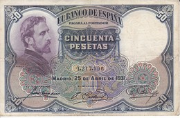 BILLETE DE 50 PTAS DE 1931 E. ROSALES SIN SERIE CALIDAD BC   (BANKNOTE) - [ 1] …-1931 : Eerste Biljeten (Banco De España)