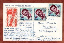 AK Port-au-Prince, Lincoln + Zwang, Nach Augsburg 1960 (72205) - Haiti