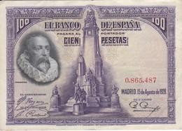 BILLETE DE 100 PTAS DEL AÑO 1928 SIN SERIE EN CALIDAD MBC (VF)  (BANKNOTE) - 100 Pesetas