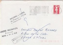 Selestat Pour Epinal : Inconnu à L'appel Des Préposé à Epinal + Adress Incomplète... Retour à L'envoyeur - Marcophilie (Lettres)