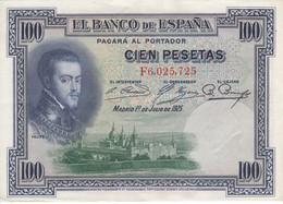 BILLETE DE ESPAÑA DE 100 PTAS DEL AÑO 1925 SERIE F  CALIDAD EBC (XF) - 100 Pesetas