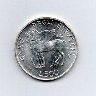 """ITALIA - 1985 - 500 Lire FDC """"Anno Degli Etruschi"""" - Argento 835 - Peso 11 Grammi - (MW2197) - 1946-… : Repubblica"""