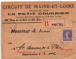 Angers 1912 - Lettre Recommandée Avec étiquette Sur Semeuse YT 142 - Petit Courrier - Circuit De Maine-et-Loire - Poststempel (Briefe)