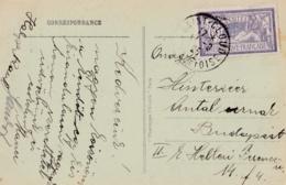 Merson 60c Violet Bleu Sur Carte Postale Pour La Hongrie - 1877-1920: Période Semi Moderne