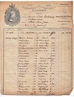 Facture à En-tête Publicitaire H. Casternam Imprimeur Libraire Tournai Bibliothèques Paris Rue Bonaparte 19ème 1865 - 1800 – 1899