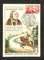 ALGÉRIE - Carte Maximum - ALGER - JOURNÉE NATIONALE DU TIMBRE 1956 - FRANÇOIS DE TASSIS - Cartes-maximum