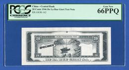 De La Rue Giori / China Central Bank 20 Cents Tyvek Specimen Test Note PCGS 66 PPQ - Specimen