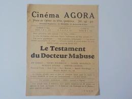 1934 Gembloux Programme Cinéma Agora Testament Docteur Mabuse Fritz Lang Film Cinématographie - Gembloux