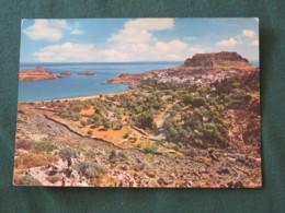 """Greece 1966 Postcard """" Rhodes - View Of Lindos """" To England - UNESCO Emblem - Griekenland"""