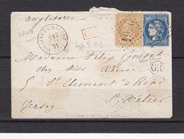 FRANCE 28+45A OBL GC 2564 MOULINS LA MARCHE ORNE  POUR ST HELIER JERSEY - Poststempel (Briefe)