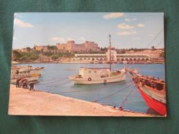 "Greece 1970 Postcard "" Rhodes Harbor - Ships "" To England - Centaur Nessus - Griekenland"