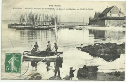 Belle Cpa BRETAGNE Morbihan 6219. Environs De LORIENT,Le Départ Du Bateau De PORT.LOUIS, Bien Animée - Port Louis