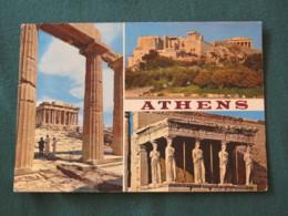 "Greece 1972 Postcard "" Athens Acropolis Parthenon Propylaea Caryatides "" To England - Centaur Nessus - Griekenland"