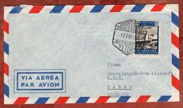 Spanisch-Marokko, Luftpost, Markttag, Tetuan Nach Hanau 1955 (72215) - Sellos De Giro