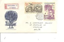 Tchécoslovaquie ( Lettre Recommandée De 1964 De Gottwaldov Vers Malte à Voir) - Czechoslovakia