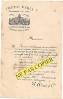 CHATEAU DEHEZ à BLANQUEFORT ( HAUT MEDOC) Mise En Vente  RECOLTE 1881 G.DIAS - Revendeur à ANTIBES M. CROUZET - Alimentaire