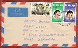 Luftpost, Frisuren U.a., Kurasini Nach Aschaffenburg 1990 (72218) - Tansania (1964-...)
