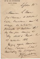 VP14.735 - BAUD 1896 - Lettre De Mr Le Docteur E. LE JOUBIOUX à Mr Le Maire De GUEMENE - Manuscrits