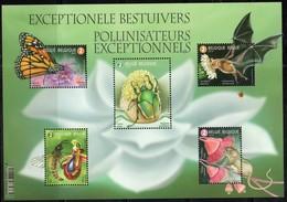 BELGIUM, 2019, MNH, EXCEPTIONAL POLLINATORS, INSECTS, BUTTERFLIES, BEETLES, BATS, BEES, SHEETLET - Farfalle