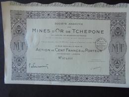INDOCHINE, LAOS - MINES D'OR DE TCHEPONE - ACTION DE 100 FRS - PARIS 1925 - Shareholdings