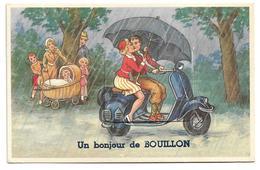 Bouillon   *  Un Bonjour De Bouillon (Carte à Système)  Mobylette - Vespa - Scooter - Bouillon