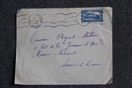 """Timbre Sur Lettre Du MAROC ( CASABLANCA ) Vers Service à La Mer  """" LE JEANNE D'ARC """"( Marine Nationale). - Marokko (1891-1956)"""