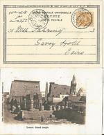 Ägypten 1903, Hotel Stempel Luxor U. Savoy Auf AK M. 3 M. - Égypte
