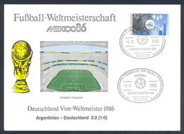 Germany 1986 Card: Football Fussball Soccer Calcio;  FIFA World Cup Mexico 86; Final: Germany Argentina; All Results - Fußball-Weltmeisterschaft