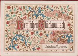 Old Chromo 1894 Kirchrath Kerkrade Goldprint Goudddruk Litho Lithographie Herzlichen Gluckwunsch - Autres