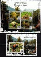 BHUTAN, 2019, MNH, MAMMALS OF BHUTAN, RHINOS, PRIMATES, MONKEYS, RED PANDA,  MARMOTS, SHEETLET+ S/SHEET - Rinoceronti