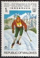 Maldive 1974 Sc. 613 Cross-country Skiing XII Olimpiadi Invernali Innsbruck-Nuovo - Sci
