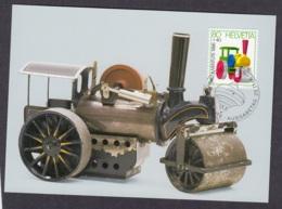 3.- SWITZERLAND 1986 MAXIMUM CARD STEAMROLLER TOYS - Enfance & Jeunesse